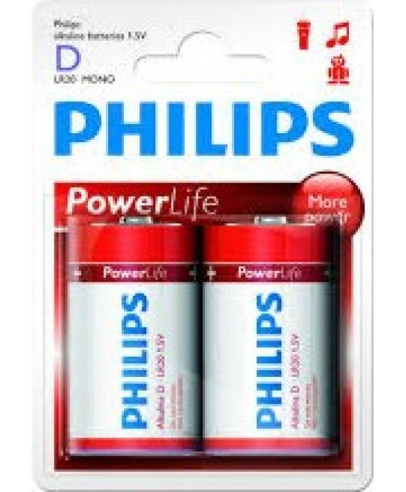PILA ALCALINA LR20 PHILIPS POWER LIFE BLISTER 2 UNIDADES