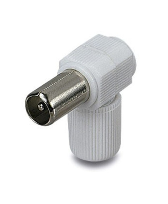 CONECTOR TV PAL 9.5 mm ACODADO MACHO BLANCO