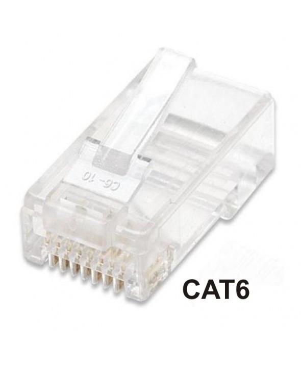 CONECTOR TELEFONICO RJ45 8p8c CAT.6 ORO