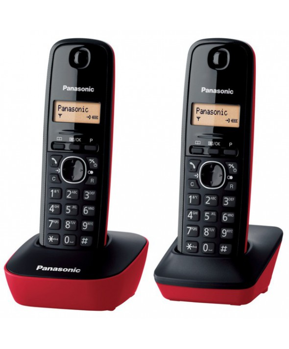 TELEFONO INALAMBRICO DUO PANASONIC KXTG1612 ROJO