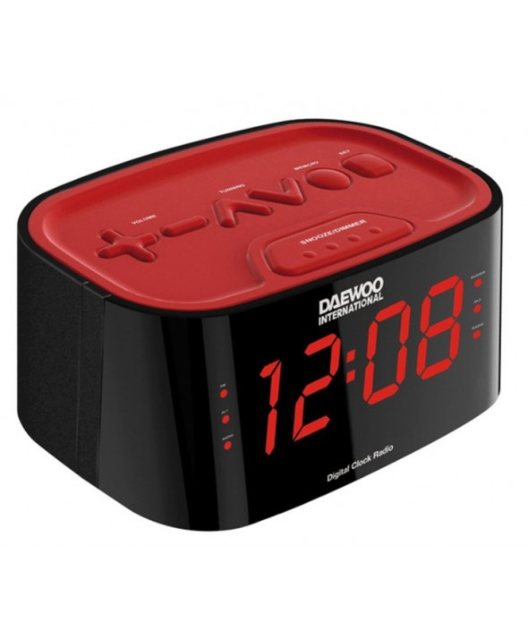 RADIO DESPERTADOR DIGITAL AM/FM 2 ALARMAS DAEWOO ROJO