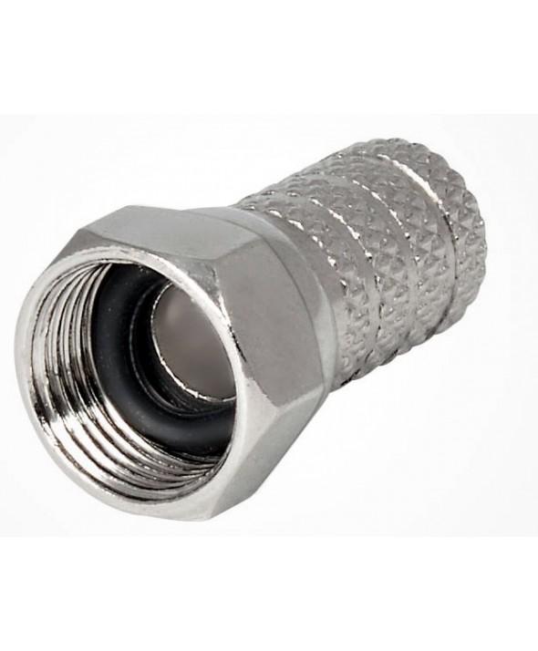 """CONECTOR """"F"""" MACHO PARA COAXIAL 6.6mm"""