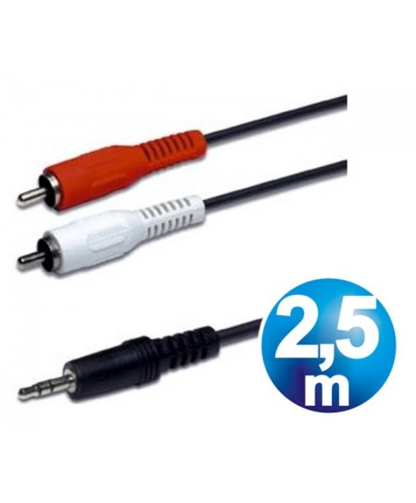 CONEXION AUDIO JACK 3.5 ST/M A 2 RCA/M 2.5m