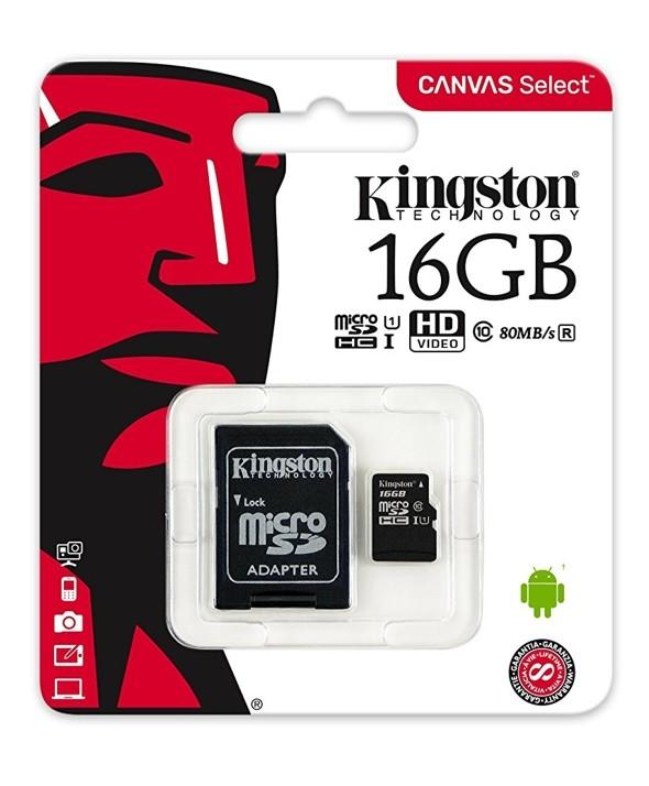 MEMORIA MICROSD HD 16Gb CL10 80R + ADAPTADOR SD KINGSTON