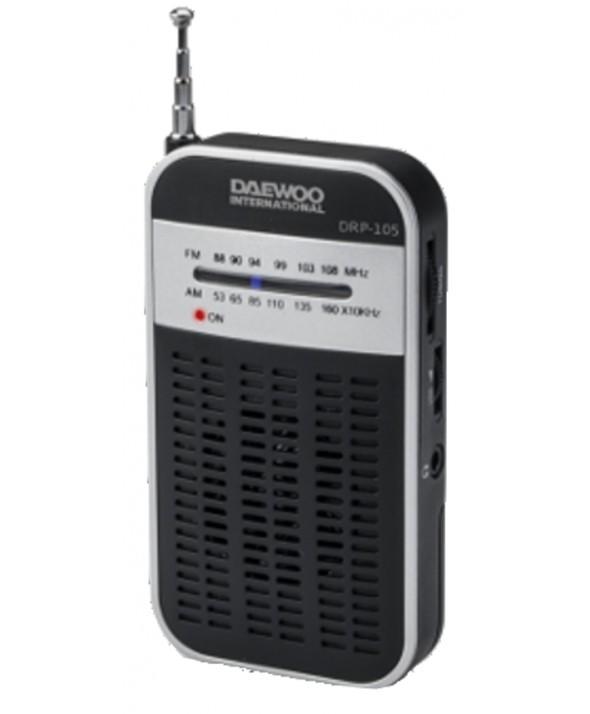 RADIO DE BOLSILLO AM/FM ALTAVOZ EXTERNO DAEWOO NEGRA