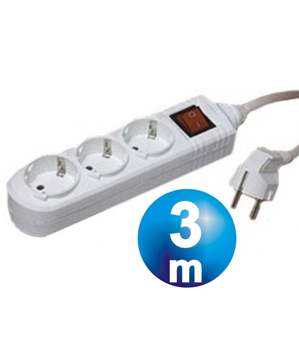 BASE RED MULTIPLE 3 VIAS CON INTERRUPTOR CABLE 3m
