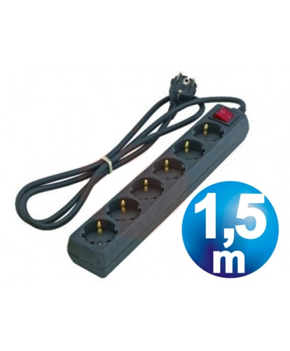 BASE RED MULTIPLE 6 VIAS CON INTERRUPTOR 1.5 m NEGRA