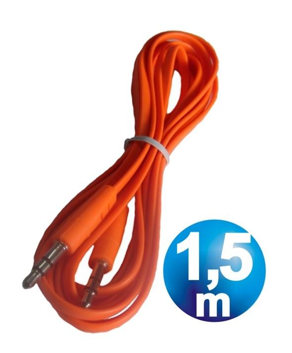 CONEX.AUDIO JACK 3.5mm M/M ST PLANO 1.5m NARANJA