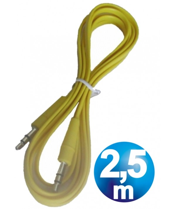 CONEX.AUDIO JACK 3.5mm M/M ST PLANO 2.5m AMARILLO