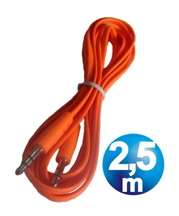 CONEX.AUDIO JACK 3.5mm M/M ST PLANO 2.5m NARANJA