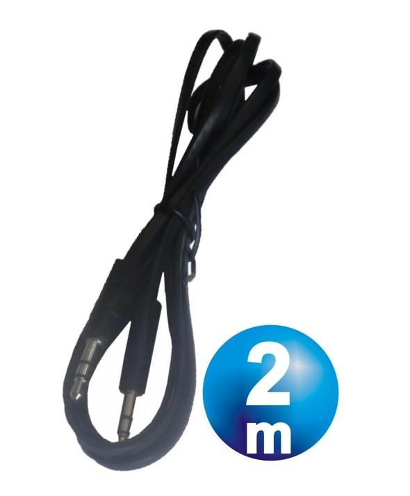 CONEX.AUDIO JACK 3.5mm M/M ST PLANO 2m NEGRO