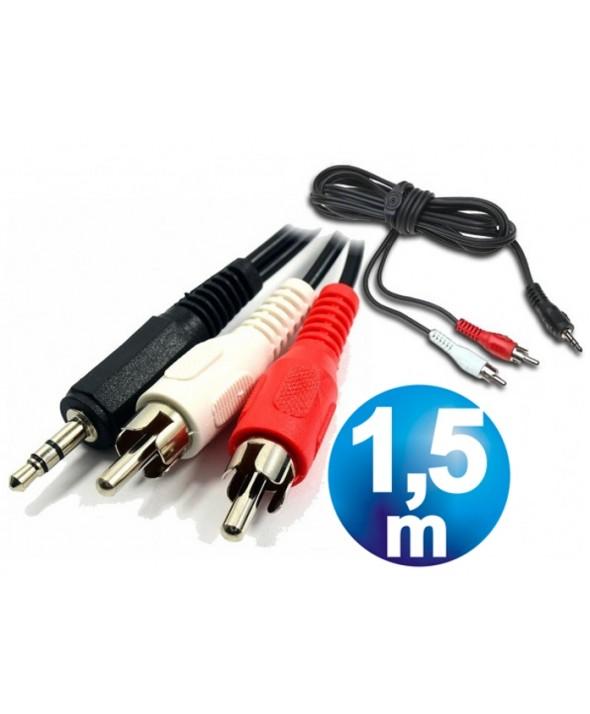 CONEXION AUDIO JACK 3.5 ST/M A 2 RCA/M 1.5m ECONOMICO
