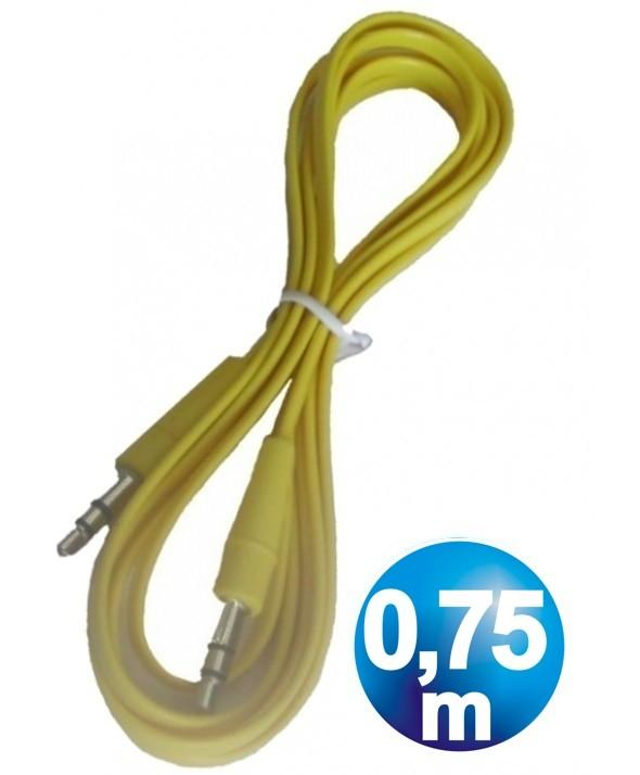 CONEXION JACK 3.5 mm M/M ST PLANO 0.75 m AMARILLO