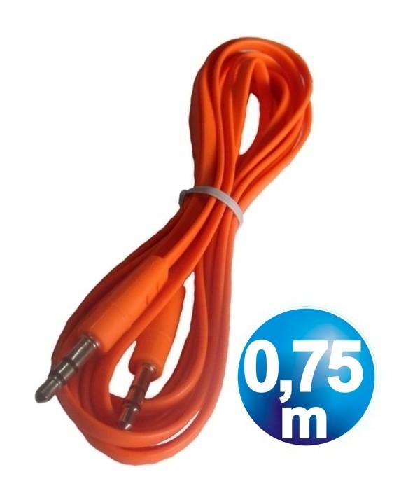 CONEXION JACK 3.5 mm M/M ST PLANO 0.75 m NARANJA