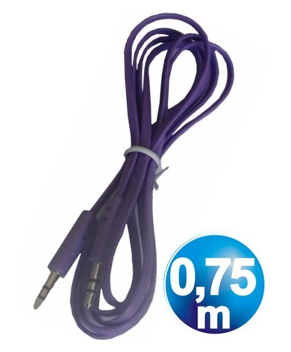 CONEXION JACK 3.5 mm M/M ST PLANO 0.75 m PURPURA