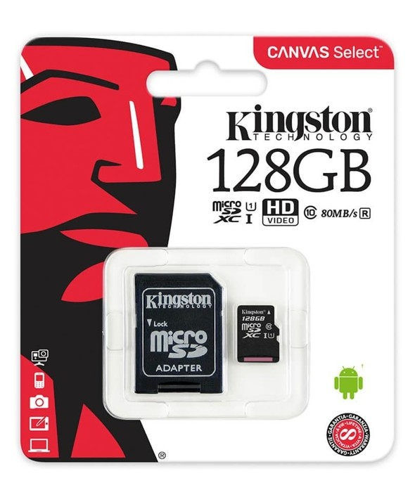 MEMORIA MICROSD 128Gb CLASS10 80MBs + ADAPTADOR SD KINGSTON