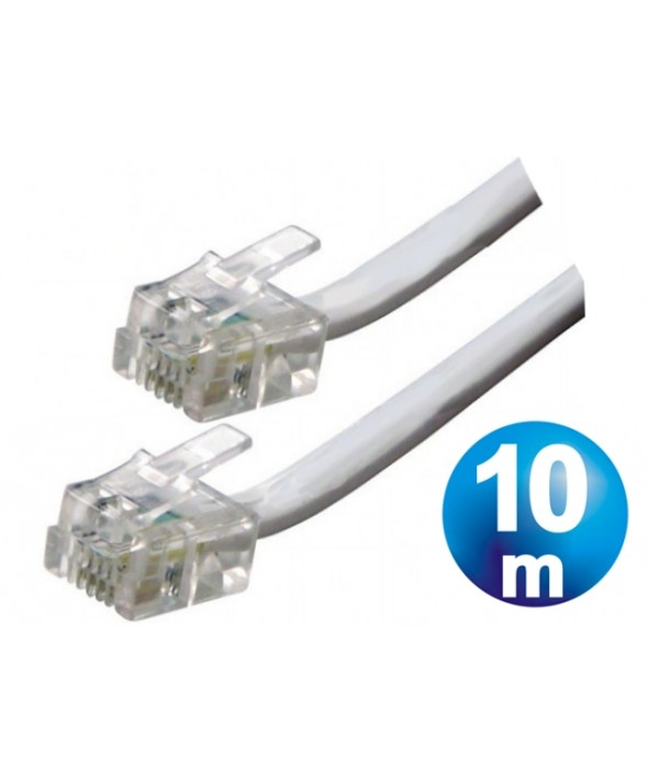 CONEXION TELEFONICA M/M RJ11 6p4c BLANCA 10 METROS
