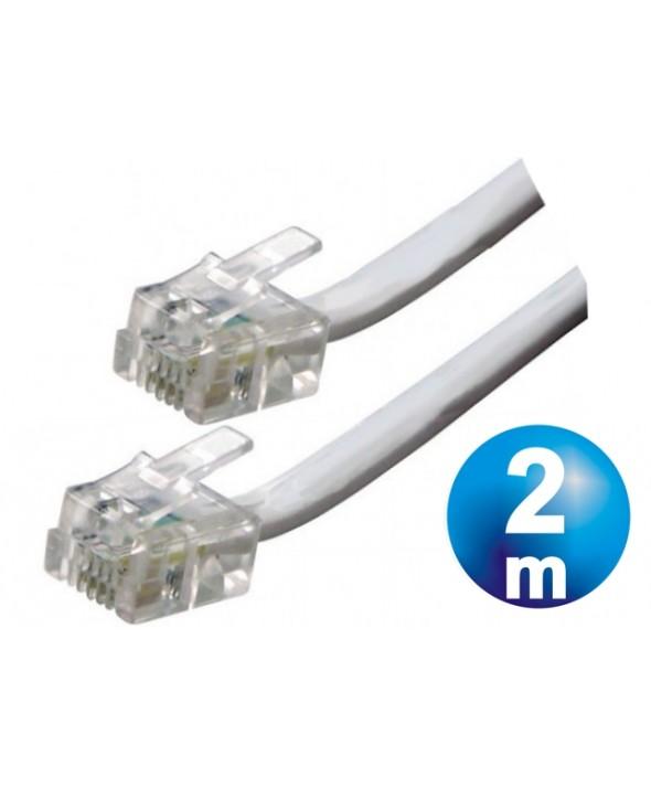 CONEXION TELEFONICA M/M RJ11 6p4c BLANCA 2 METROS