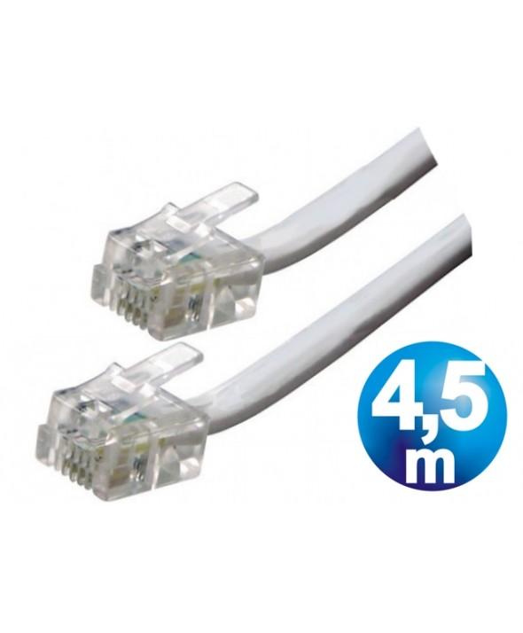 CONEXION TELEFONICA M/M RJ11 6p4c BLANCA 4.5 METROS