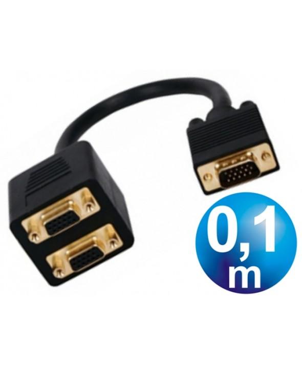 CONEXION VGA MACHO A 2 HEMBRAS CABLE 0.1 m