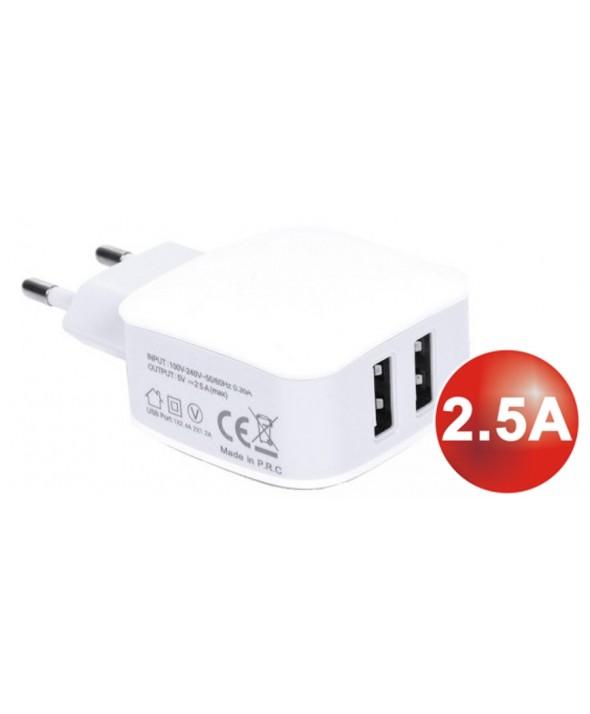 ALIMENTADOR 220V A 2 X USB 5V (2500mA) QC-2427