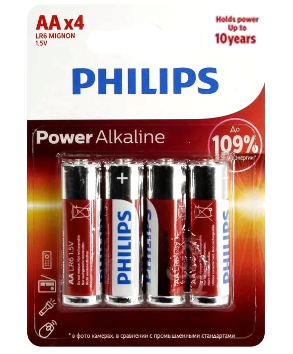 PILA ALCALINA LR-6 (AA) PHILIPS POWER ALKALINE BLISTER 4 UNIDADES