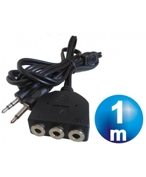 CONEXION 2xJACK 3.5 MACHO A 3xJACK 3.5mm HEMBRA MICROFONO+AUDIO 1m