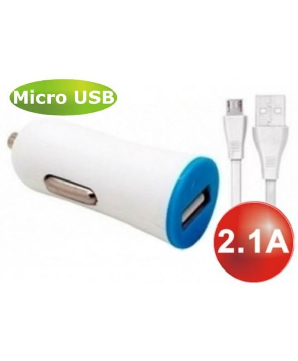 CARGADOR MECHERO Usb 2.1A+CONEXION MICRO Usb 1 m