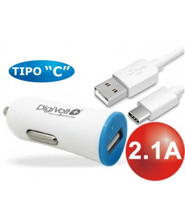 KIT ALIMENTADOR 2.1A MECHERO 12VDC+ CONEXION TIPO C
