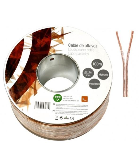 ROLLO 100 m CABLE PARALELO 2x1.5 mm TRANSPARENTE