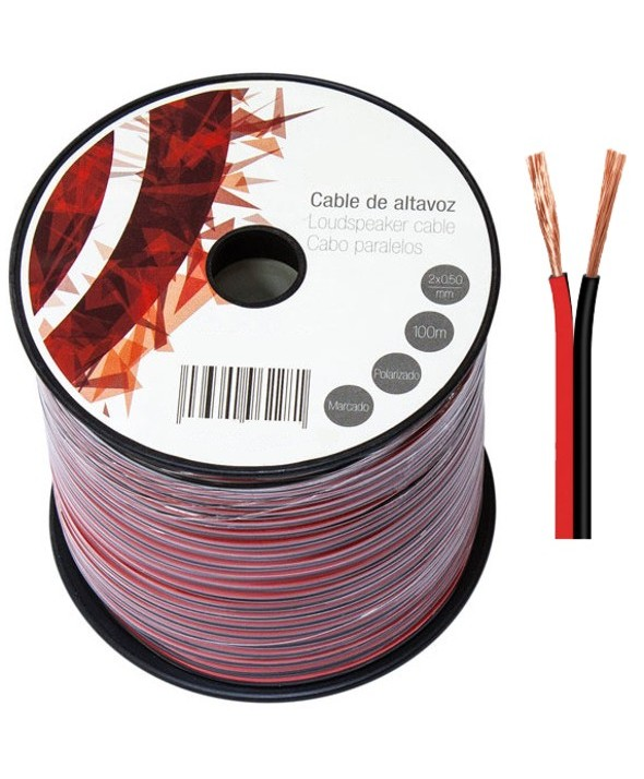 ROLLO 100m CABLE PARALELO ROJO/NEGRO 2x0.5mm
