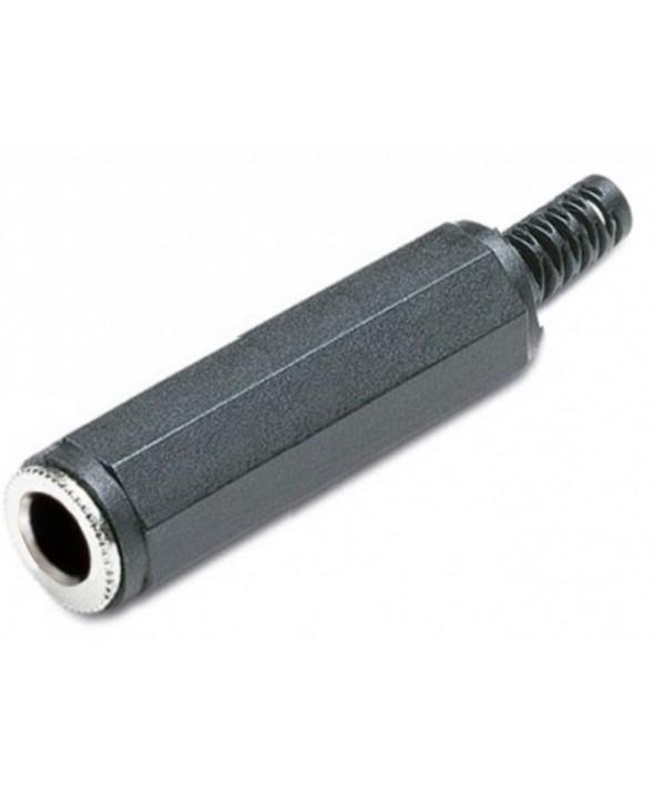 CONECTOR JACK 6.3mm HEMBRA STEREO PVC NEGRO