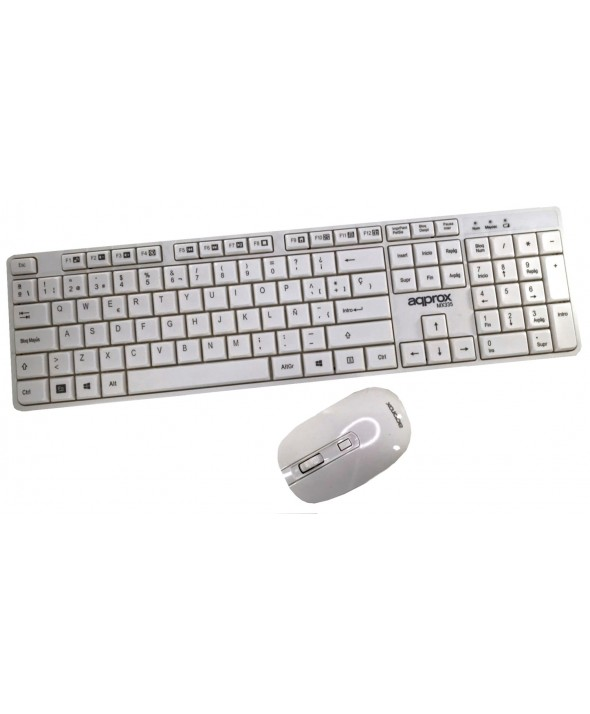 TECLADO+RATON WIRELESS BLANCO APPROX