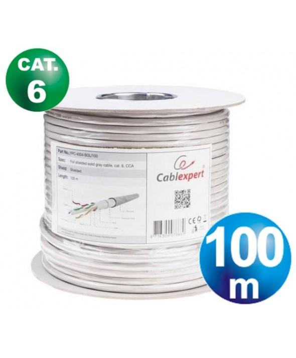 ROLLO 100 m CABLE TELEFONICO CAT.6 FTP RIGIDO