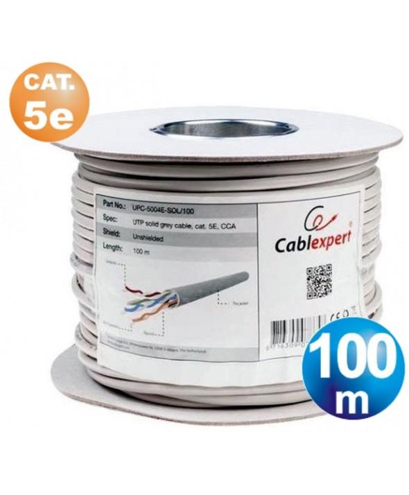 ROLLO 100 m CABLE TELEFONICO CAT.5e UTP CCA RIGIDO METREADO