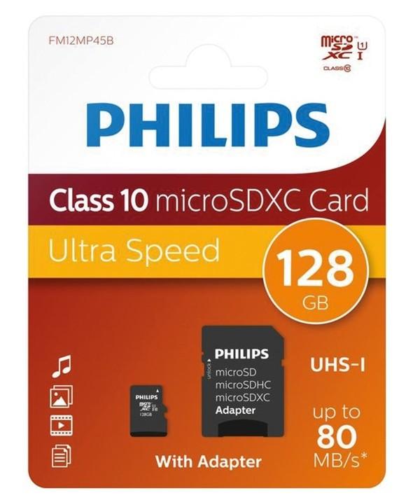 MEMORIA MICROSD 128Gb CLASS10 80MBs + ADAPTADOR SD PHILIPS